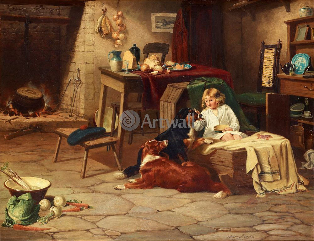 Дети в живописи, картина Роберт Рё «Девочка с собаками»Дети в живописи<br>Репродукция на холсте или бумаге. Любого нужного вам размера. В раме или без. Подвес в комплекте. Трехслойная надежная упаковка. Доставим в любую точку России. Вам осталось только повесить картину на стену!<br>