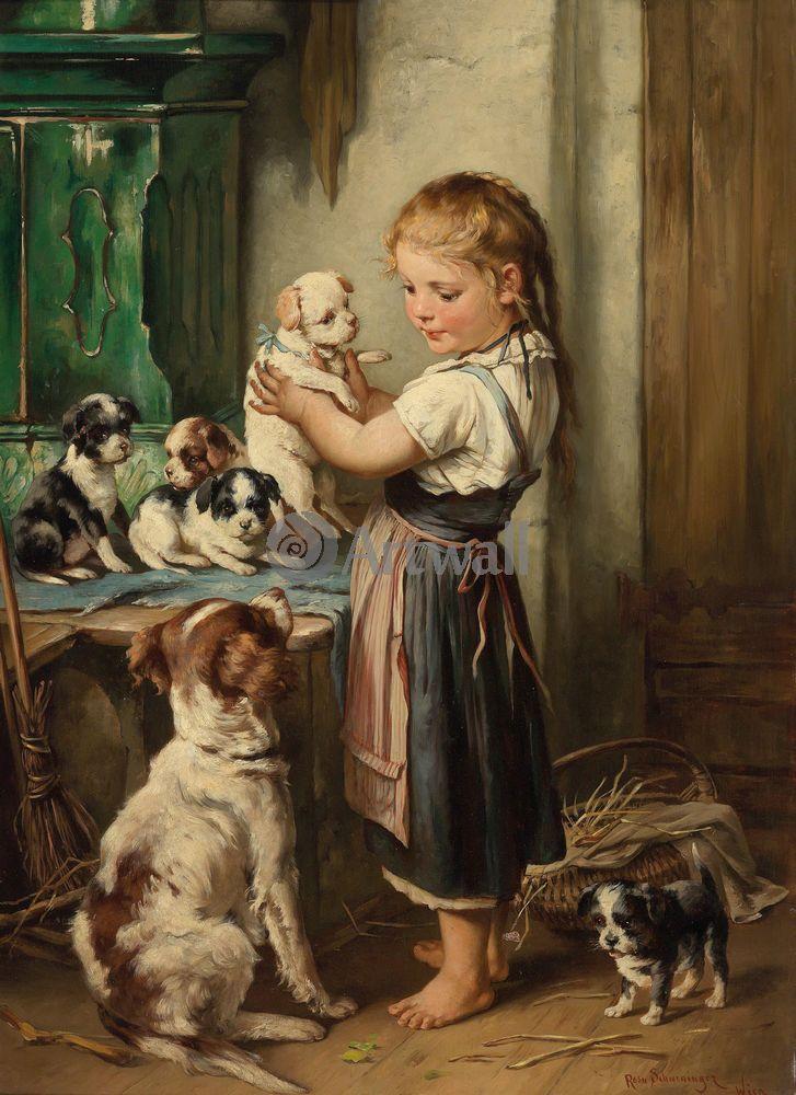 Дети в живописи, картина Роза Швейнингер «Девочка со щенками»Дети в живописи<br>Репродукция на холсте или бумаге. Любого нужного вам размера. В раме или без. Подвес в комплекте. Трехслойная надежная упаковка. Доставим в любую точку России. Вам осталось только повесить картину на стену!<br>