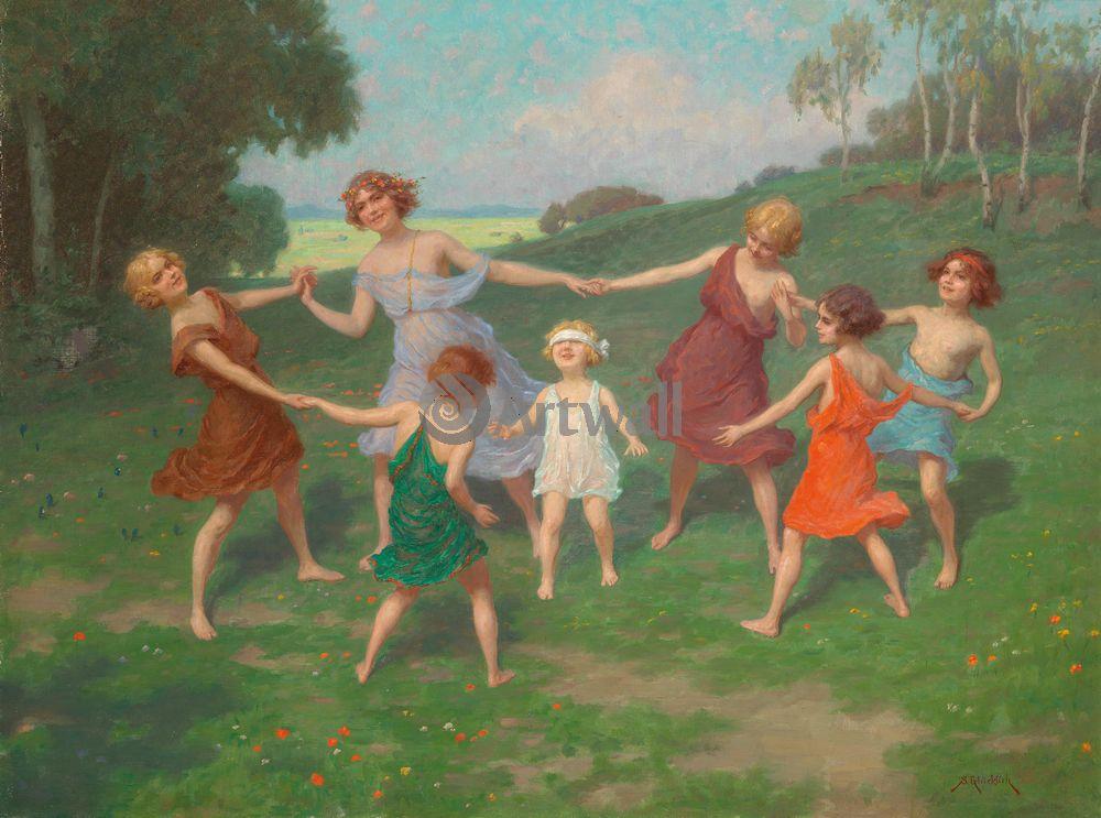Дети в живописи, картина Симон Глюклих «Танец»Дети в живописи<br>Репродукция на холсте или бумаге. Любого нужного вам размера. В раме или без. Подвес в комплекте. Трехслойная надежная упаковка. Доставим в любую точку России. Вам осталось только повесить картину на стену!<br>