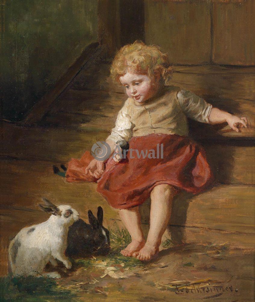Дети в живописи, картина Феликс Шлезинджер «Девочка с кроликами»Дети в живописи<br>Репродукция на холсте или бумаге. Любого нужного вам размера. В раме или без. Подвес в комплекте. Трехслойная надежная упаковка. Доставим в любую точку России. Вам осталось только повесить картину на стену!<br>