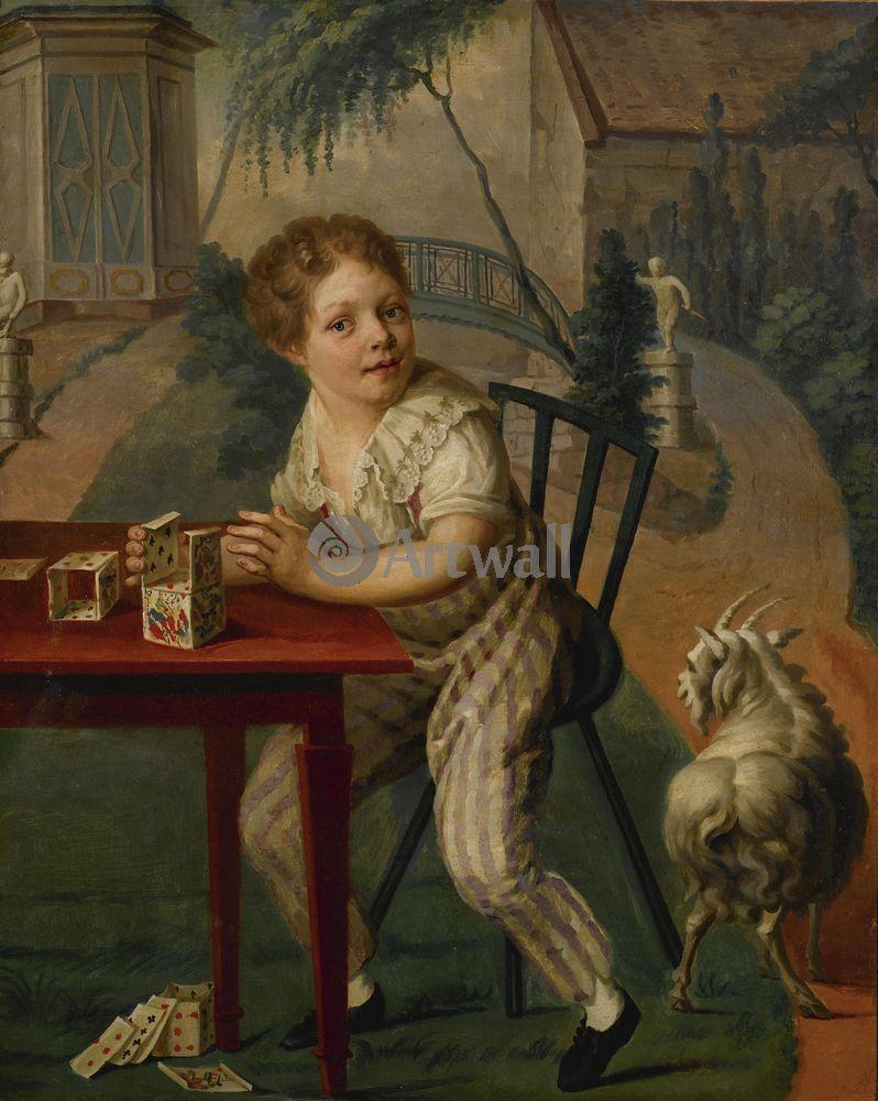 Дети в живописи, картина Французская школа 18 век «Карточный домик»Дети в живописи<br>Репродукция на холсте или бумаге. Любого нужного вам размера. В раме или без. Подвес в комплекте. Трехслойная надежная упаковка. Доставим в любую точку России. Вам осталось только повесить картину на стену!<br>