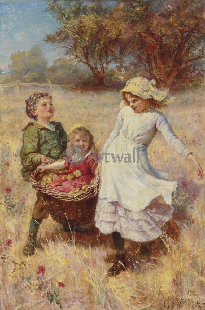 Дети в живописи, картина Фредерик Морган «Дети с корзиной с яблоками»Дети в живописи<br>Репродукция на холсте или бумаге. Любого нужного вам размера. В раме или без. Подвес в комплекте. Трехслойная надежная упаковка. Доставим в любую точку России. Вам осталось только повесить картину на стену!<br>