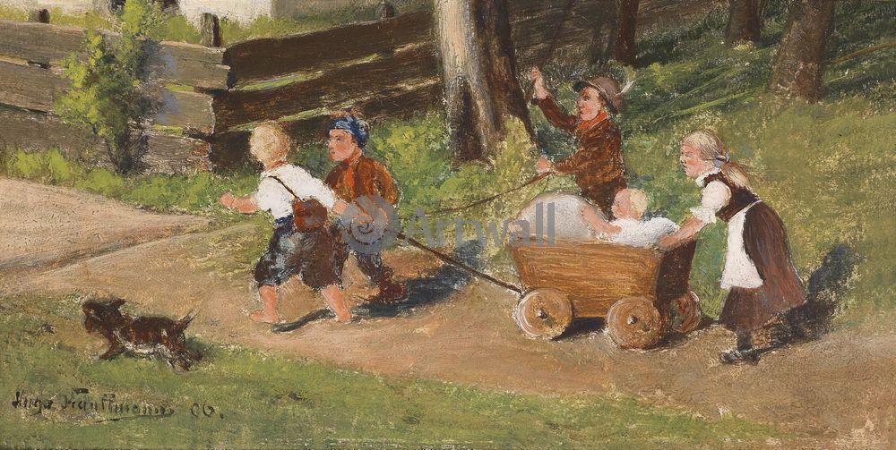 Дети в живописи, картина Хуго Кауфман «Дети на прогулке»Дети в живописи<br>Репродукция на холсте или бумаге. Любого нужного вам размера. В раме или без. Подвес в комплекте. Трехслойная надежная упаковка. Доставим в любую точку России. Вам осталось только повесить картину на стену!<br>
