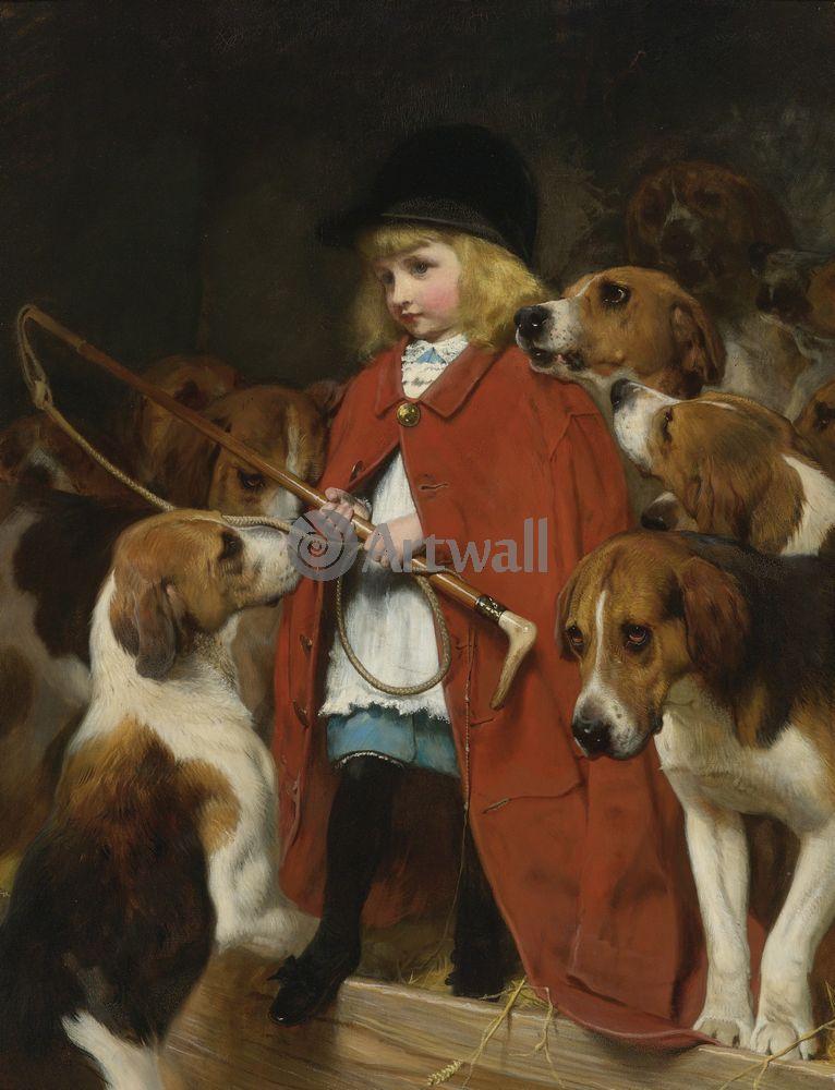 Дети в живописи, картина Чарльз Барбер «Мальчик с охотничьими собаками»Дети в живописи<br>Репродукция на холсте или бумаге. Любого нужного вам размера. В раме или без. Подвес в комплекте. Трехслойная надежная упаковка. Доставим в любую точку России. Вам осталось только повесить картину на стену!<br>