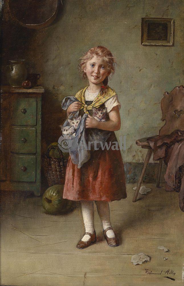 Дети в живописи, картина Эдмунд Адлер «Девочка с котятами»Дети в живописи<br>Репродукция на холсте или бумаге. Любого нужного вам размера. В раме или без. Подвес в комплекте. Трехслойная надежная упаковка. Доставим в любую точку России. Вам осталось только повесить картину на стену!<br>