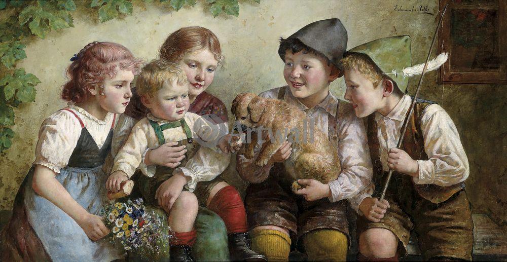 Дети в живописи, картина Эдмунд Адлер «Дети со щенком»Дети в живописи<br>Репродукция на холсте или бумаге. Любого нужного вам размера. В раме или без. Подвес в комплекте. Трехслойная надежная упаковка. Доставим в любую точку России. Вам осталось только повесить картину на стену!<br>