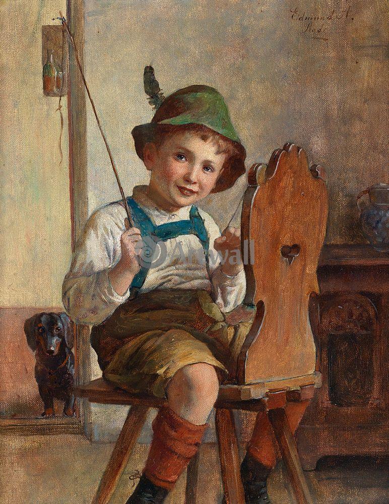 Дети в живописи, картина Эдмунд Адлер «Мальчик, играющий в лошадку»Дети в живописи<br>Репродукция на холсте или бумаге. Любого нужного вам размера. В раме или без. Подвес в комплекте. Трехслойная надежная упаковка. Доставим в любую точку России. Вам осталось только повесить картину на стену!<br>