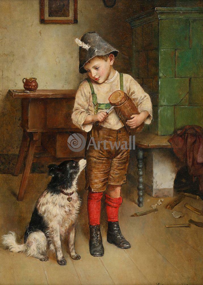 Дети в живописи, картина Эдмунд Адлер «Мальчик с собакой»Дети в живописи<br>Репродукция на холсте или бумаге. Любого нужного вам размера. В раме или без. Подвес в комплекте. Трехслойная надежная упаковка. Доставим в любую точку России. Вам осталось только повесить картину на стену!<br>