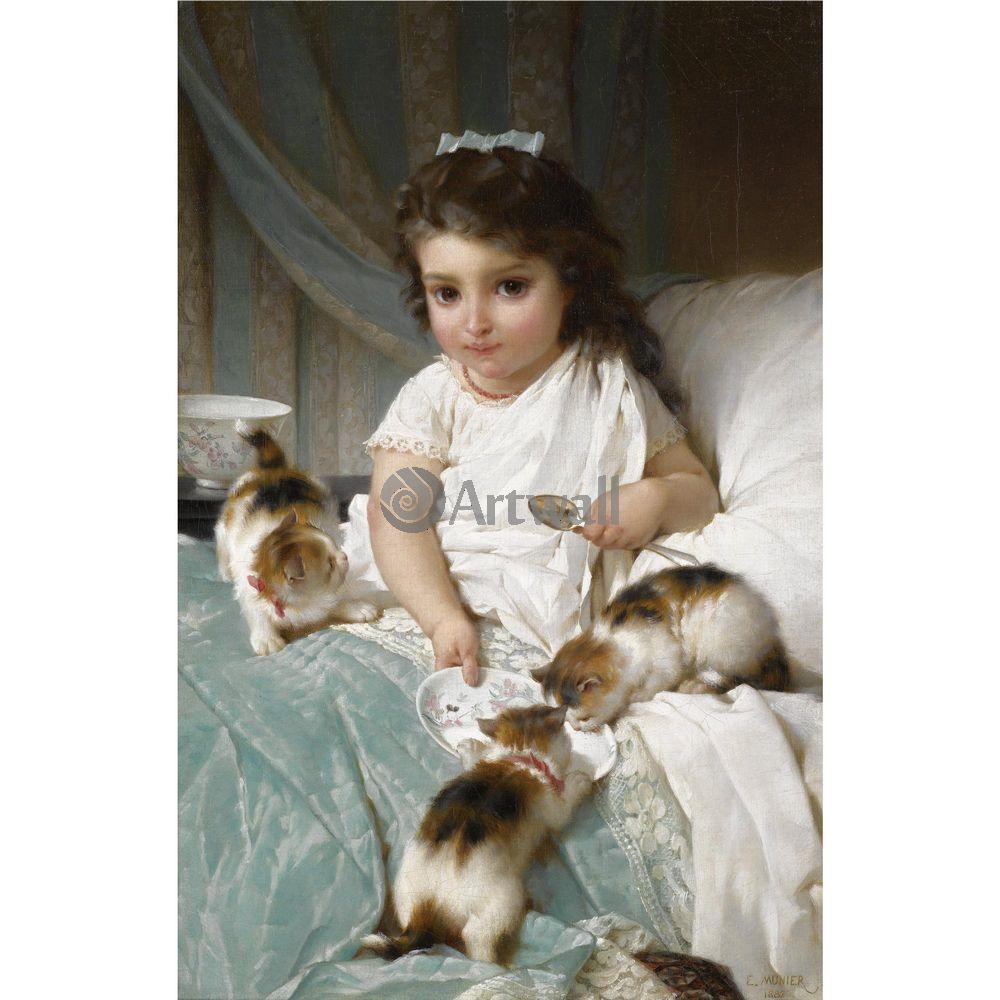 Искусство, картина Эмиль Мунье «Девочка, кормящая котят 2», 20x20 см, на бумагеДети в живописи<br>Постер на холсте или бумаге. Любого нужного вам размера. В раме или без. Подвес в комплекте. Трехслойная надежная упаковка. Доставим в любую точку России. Вам осталось только повесить картину на стену!<br>