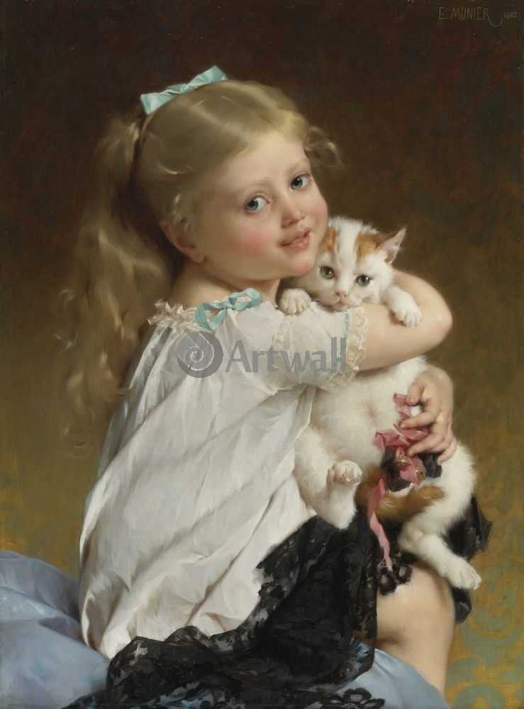 Дети в живописи, картина Эмиль Мунье «Девочка с котенком 1»Дети в живописи<br>Репродукция на холсте или бумаге. Любого нужного вам размера. В раме или без. Подвес в комплекте. Трехслойная надежная упаковка. Доставим в любую точку России. Вам осталось только повесить картину на стену!<br>