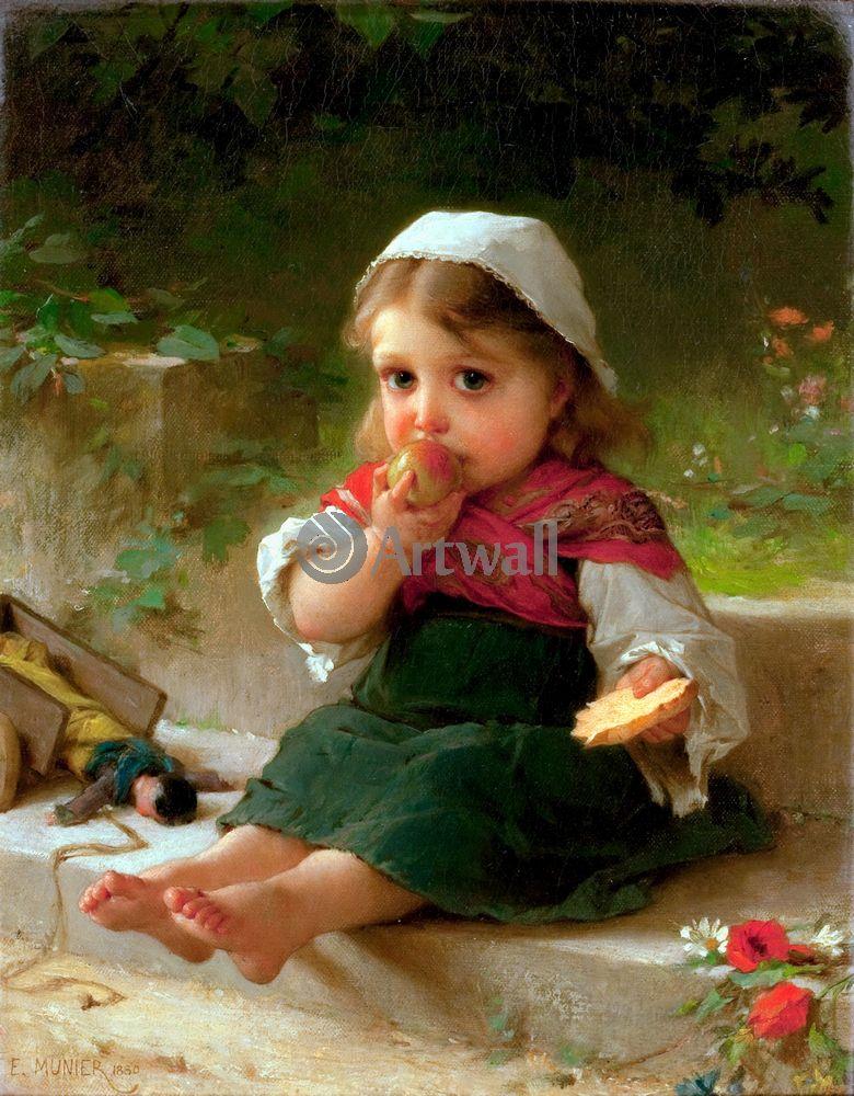 Дети в живописи, картина Эмиль Мунье «Девочка с яблоком 2»Дети в живописи<br>Репродукция на холсте или бумаге. Любого нужного вам размера. В раме или без. Подвес в комплекте. Трехслойная надежная упаковка. Доставим в любую точку России. Вам осталось только повесить картину на стену!<br>