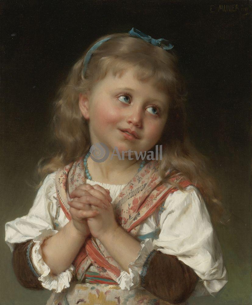 Дети в живописи, картина Эмиль Мунье «Портрет девочки»Дети в живописи<br>Репродукция на холсте или бумаге. Любого нужного вам размера. В раме или без. Подвес в комплекте. Трехслойная надежная упаковка. Доставим в любую точку России. Вам осталось только повесить картину на стену!<br>