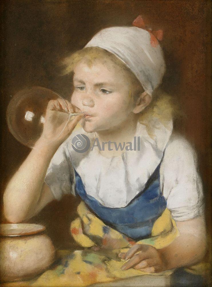 Дети в живописи, картина Эмма Эквал «Мыльный пузырь»Дети в живописи<br>Репродукция на холсте или бумаге. Любого нужного вам размера. В раме или без. Подвес в комплекте. Трехслойная надежная упаковка. Доставим в любую точку России. Вам осталось только повесить картину на стену!<br>
