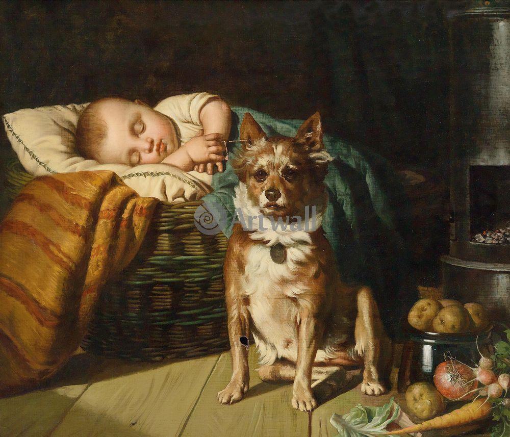 Дети в живописи, картина Эуген Феликс «Спящий ребенок и собака»Дети в живописи<br>Репродукция на холсте или бумаге. Любого нужного вам размера. В раме или без. Подвес в комплекте. Трехслойная надежная упаковка. Доставим в любую точку России. Вам осталось только повесить картину на стену!<br>