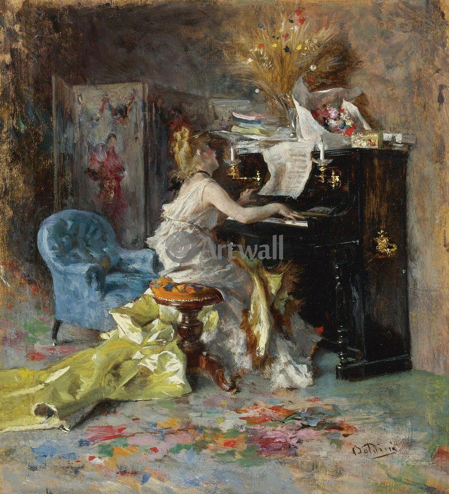 Больдини Джовани, картина Женщина у пианиноБольдини Джовани<br>Репродукция на холсте или бумаге. Любого нужного вам размера. В раме или без. Подвес в комплекте. Трехслойная надежная упаковка. Доставим в любую точку России. Вам осталось только повесить картину на стену!<br>