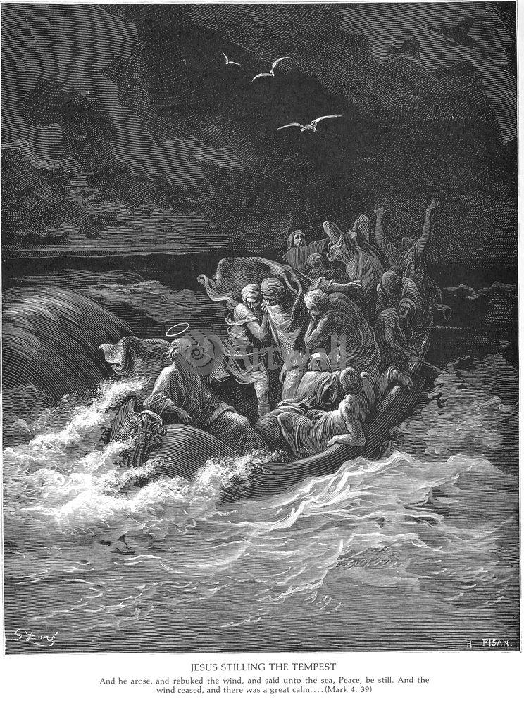 Художники, картина Иисус успокаивает бурю на море, Новый Завет, 20x27 см, на бумагеДоре Гюстав<br>Постер на холсте или бумаге. Любого нужного вам размера. В раме или без. Подвес в комплекте. Трехслойная надежная упаковка. Доставим в любую точку России. Вам осталось только повесить картину на стену!<br>