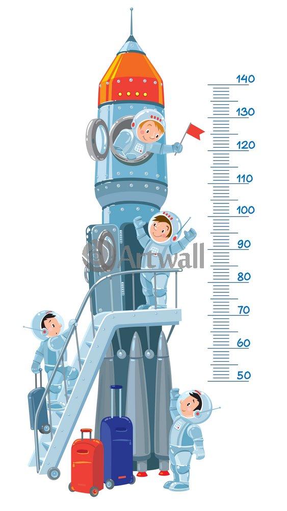 Постер Ростомеры Детский ростомер «Космический корабль», 155x87 см, самоклеющаяся бумагаРостомеры<br>Постер на холсте или бумаге. Любого нужного вам размера. В раме или без. Подвес в комплекте. Трехслойная надежная упаковка. Доставим в любую точку России. Вам осталось только повесить картину на стену!<br>