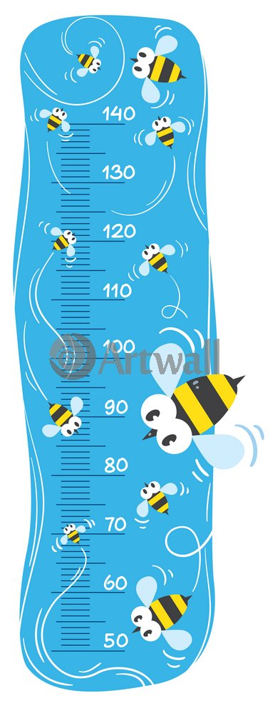 Постер Оформление детской Детский ростомер «Пчелы», 122x46 см, самоклеющаяся бумагаРостомеры<br>Постер на холсте или бумаге. Любого нужного вам размера. В раме или без. Подвес в комплекте. Трехслойная надежная упаковка. Доставим в любую точку России. Вам осталось только повесить картину на стену!<br>