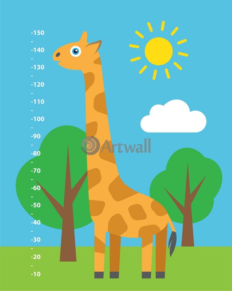 Постер Ростомеры Детский ростомер «Жираф», 169x135 см, самоклеющаяся бумагаРостомеры<br>Постер на холсте или бумаге. Любого нужного вам размера. В раме или без. Подвес в комплекте. Трехслойная надежная упаковка. Доставим в любую точку России. Вам осталось только повесить картину на стену!<br>