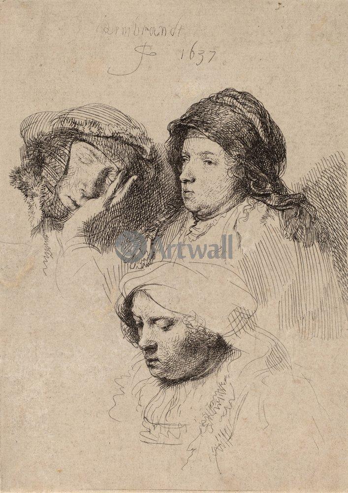 Художники, картина Три женских головы, 20x28 см, на бумагеРембрандт Харменс Ван Рейн - офорты<br>Постер на холсте или бумаге. Любого нужного вам размера. В раме или без. Подвес в комплекте. Трехслойная надежная упаковка. Доставим в любую точку России. Вам осталось только повесить картину на стену!<br>