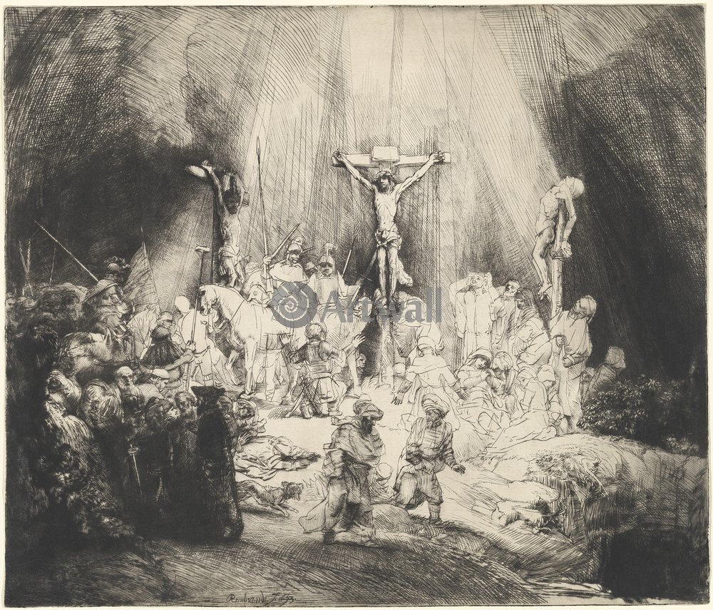 Рембрандт Харменс Ван Рейн - офорты, картина Христос на кресте между двумя разбойникамиРембрандт Харменс Ван Рейн - офорты<br>Репродукция на холсте или бумаге. Любого нужного вам размера. В раме или без. Подвес в комплекте. Трехслойная надежная упаковка. Доставим в любую точку России. Вам осталось только повесить картину на стену!<br>