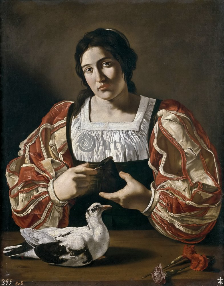 Караваджо Микеланджело, картина Женщина с голубемКараваджо Микеланджело<br>Репродукция на холсте или бумаге. Любого нужного вам размера. В раме или без. Подвес в комплекте. Трехслойная надежная упаковка. Доставим в любую точку России. Вам осталось только повесить картину на стену!<br>