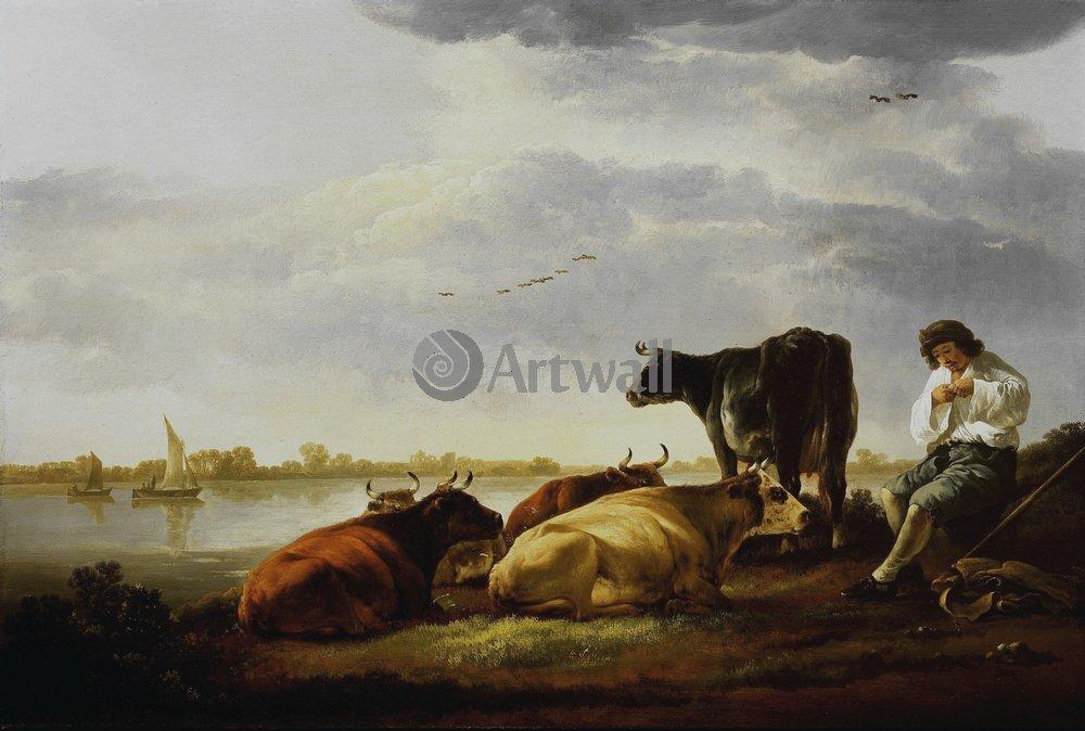 Кейп Альберт, картина Пастух с коровами на берегу рекиКейп Альберт<br>Репродукция на холсте или бумаге. Любого нужного вам размера. В раме или без. Подвес в комплекте. Трехслойная надежная упаковка. Доставим в любую точку России. Вам осталось только повесить картину на стену!<br>