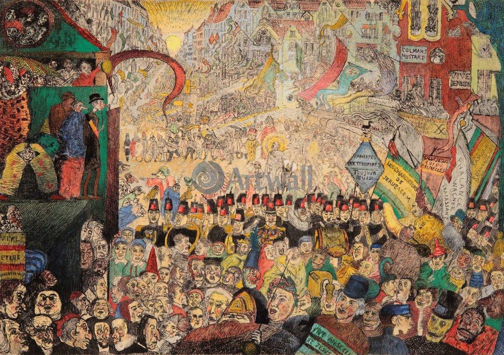 Энсор Джеймс, картина Въезд Христа в БрюссельЭнсор Джеймс<br>Репродукция на холсте или бумаге. Любого нужного вам размера. В раме или без. Подвес в комплекте. Трехслойная надежная упаковка. Доставим в любую точку России. Вам осталось только повесить картину на стену!<br>