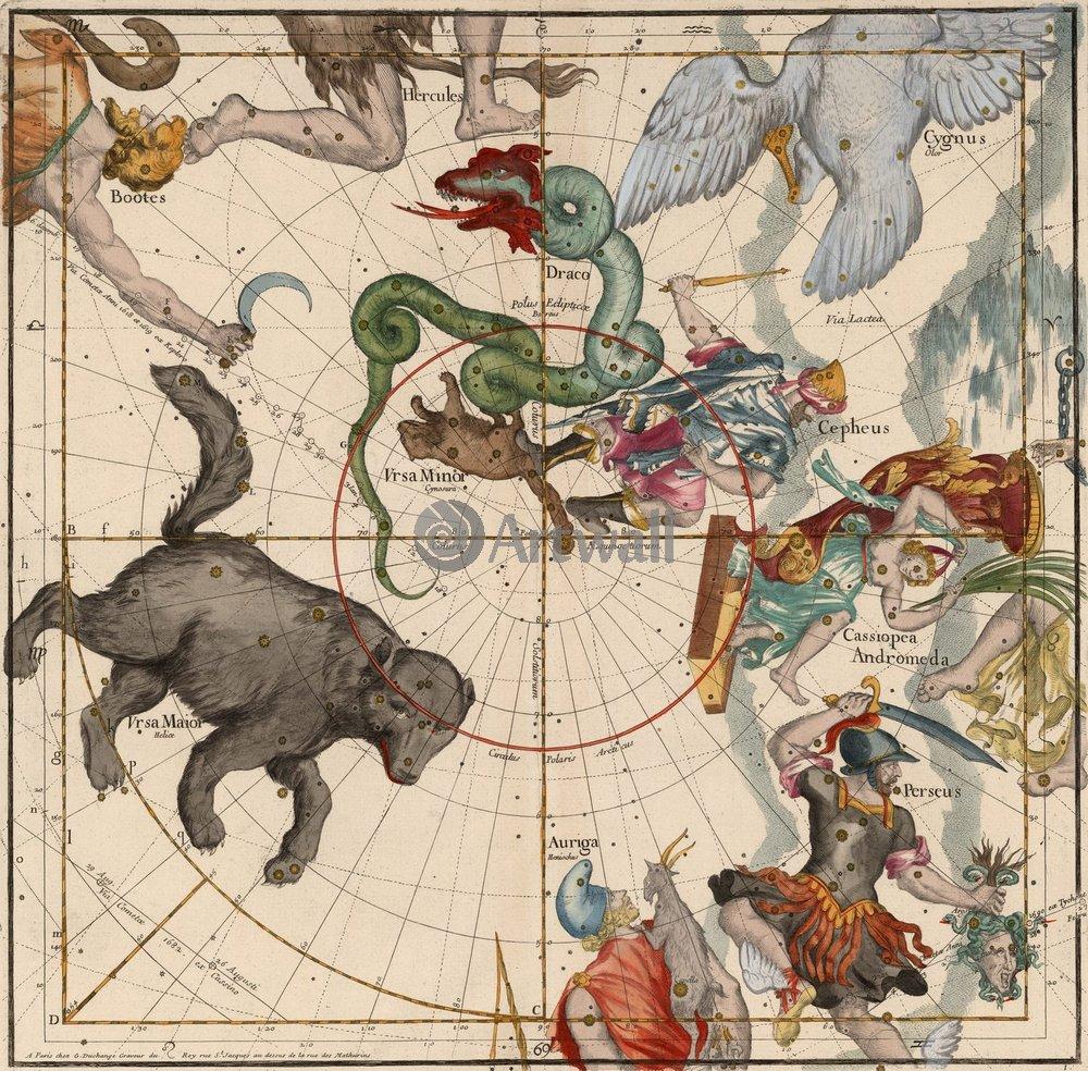 Постер Старинные звездные атласы Пардис, Северный полюсСтаринные звездные атласы<br>Постер на холсте или бумаге. Любого нужного вам размера. В раме или без. Подвес в комплекте. Трехслойная надежная упаковка. Доставим в любую точку России. Вам осталось только повесить картину на стену!<br>