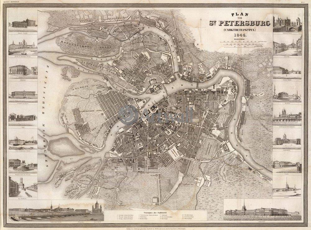 Постер Санкт-Петербург - старинные карты План ПетербургаСанкт-Петербург - старинные карты<br>Постер на холсте или бумаге. Любого нужного вам размера. В раме или без. Подвес в комплекте. Трехслойная надежная упаковка. Доставим в любую точку России. Вам осталось только повесить картину на стену!<br>