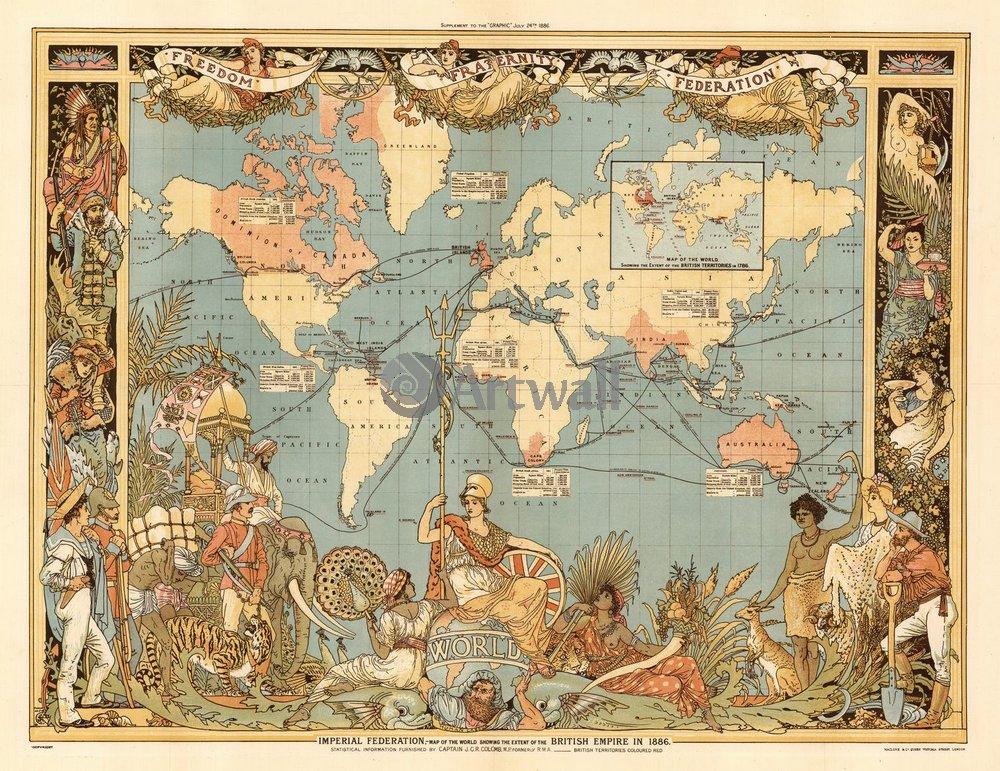 Старинные карты, картина Карта мира, 26x20 см, на бумагеСтаринные карты<br>Постер на холсте или бумаге. Любого нужного вам размера. В раме или без. Подвес в комплекте. Трехслойная надежная упаковка. Доставим в любую точку России. Вам осталось только повесить картину на стену!<br>