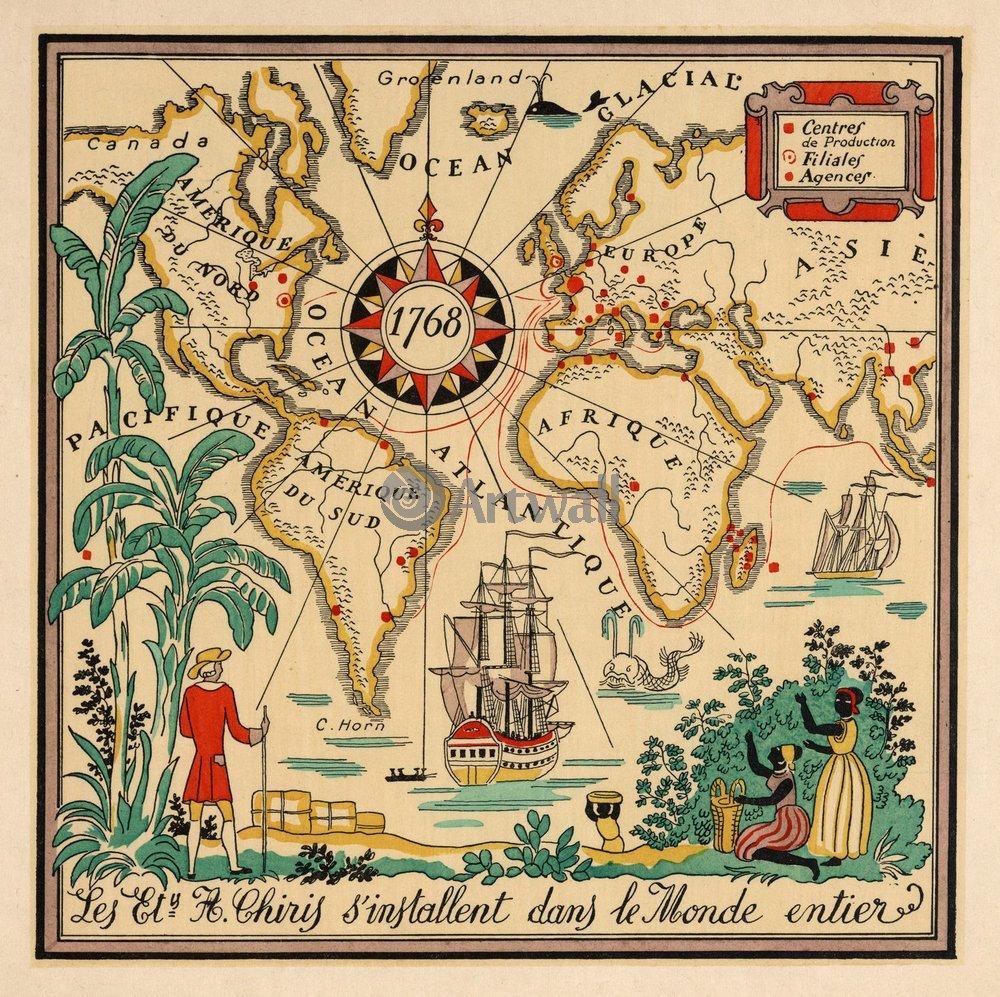 Постер Старинные карты Карта мираСтаринные карты<br>Постер на холсте или бумаге. Любого нужного вам размера. В раме или без. Подвес в комплекте. Трехслойная надежная упаковка. Доставим в любую точку России. Вам осталось только повесить картину на стену!<br>