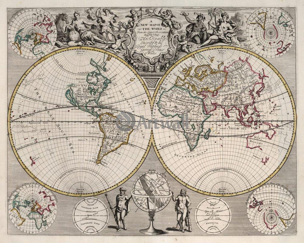 Старинные карты, картина Карта полушарийСтаринные карты<br>Репродукция на холсте или бумаге. Любого нужного вам размера. В раме или без. Подвес в комплекте. Трехслойная надежная упаковка. Доставим в любую точку России. Вам осталось только повесить картину на стену!<br>