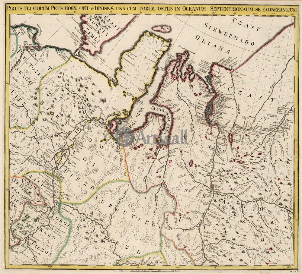 Постер Старинные карты Карта севера МосковииСтаринные карты<br>Постер на холсте или бумаге. Любого нужного вам размера. В раме или без. Подвес в комплекте. Трехслойная надежная упаковка. Доставим в любую точку России. Вам осталось только повесить картину на стену!<br>