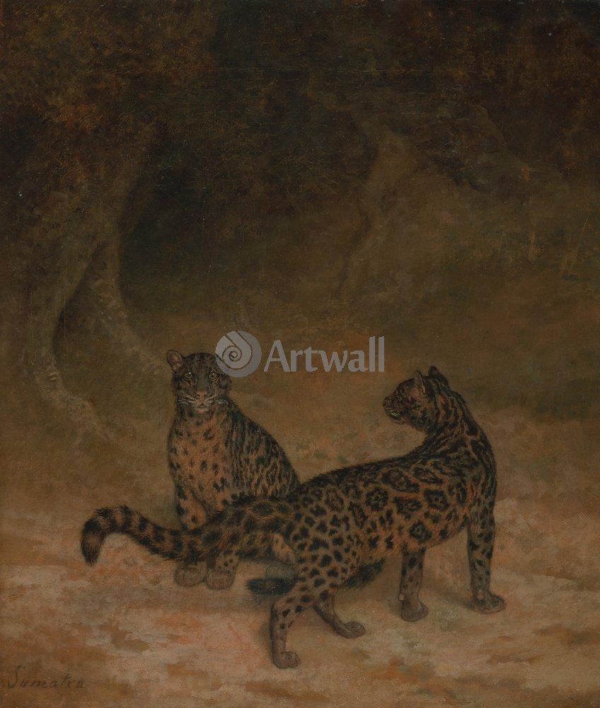 Искусство, картина Жак-Лоран Агас «Дымчатые леопарды», 20x24 см, на бумагеЖивотные<br>Постер на холсте или бумаге. Любого нужного вам размера. В раме или без. Подвес в комплекте. Трехслойная надежная упаковка. Доставим в любую точку России. Вам осталось только повесить картину на стену!<br>