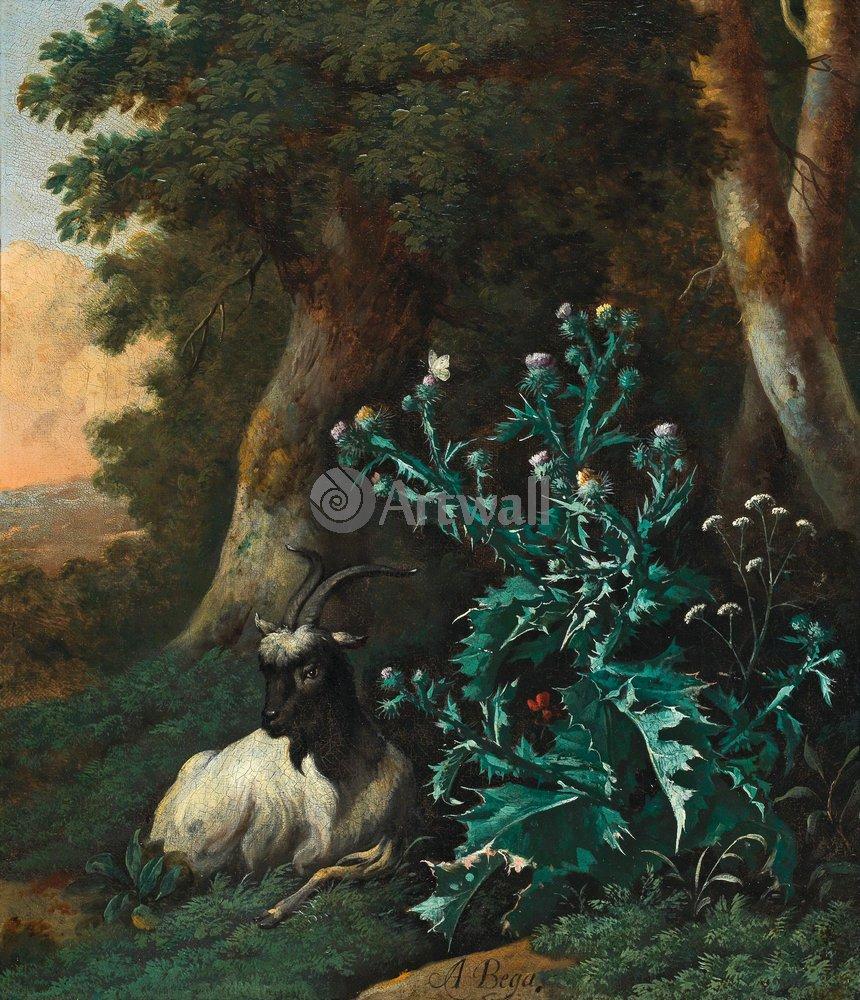 Животные, картина Абрахам Бегейн «Коза в лесу»Животные<br>Репродукция на холсте или бумаге. Любого нужного вам размера. В раме или без. Подвес в комплекте. Трехслойная надежная упаковка. Доставим в любую точку России. Вам осталось только повесить картину на стену!<br>