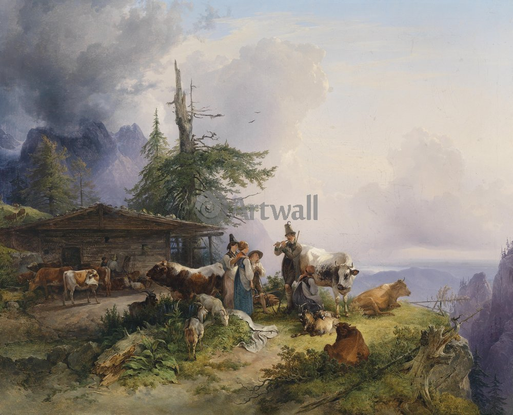 Животные, картина Фридрих Гауерман «Коровы в Альпах»Животные<br>Репродукция на холсте или бумаге. Любого нужного вам размера. В раме или без. Подвес в комплекте. Трехслойная надежная упаковка. Доставим в любую точку России. Вам осталось только повесить картину на стену!<br>