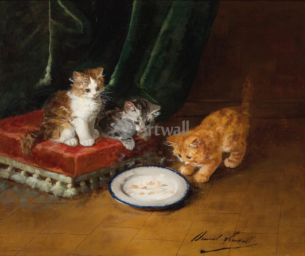 Животные, картина Альфред де Невиль «Котята»Животные<br>Репродукция на холсте или бумаге. Любого нужного вам размера. В раме или без. Подвес в комплекте. Трехслойная надежная упаковка. Доставим в любую точку России. Вам осталось только повесить картину на стену!<br>