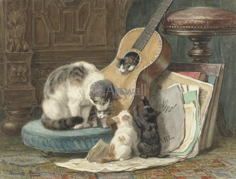 Животные, картина Генриетта Рённер «Кошки»Животные<br>Репродукция на холсте или бумаге. Любого нужного вам размера. В раме или без. Подвес в комплекте. Трехслойная надежная упаковка. Доставим в любую точку России. Вам осталось только повесить картину на стену!<br>