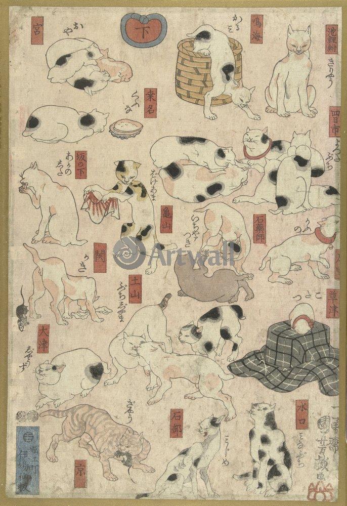 Животные, картина Хиросиге «Кошки»Животные<br>Репродукция на холсте или бумаге. Любого нужного вам размера. В раме или без. Подвес в комплекте. Трехслойная надежная упаковка. Доставим в любую точку России. Вам осталось только повесить картину на стену!<br>