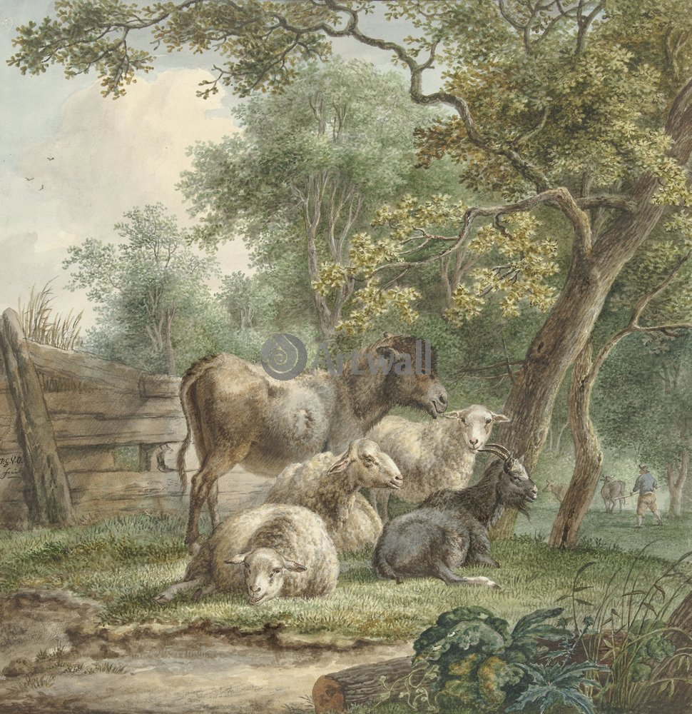 Животные, картина Питер ван Ос «Овцы»Животные<br>Репродукция на холсте или бумаге. Любого нужного вам размера. В раме или без. Подвес в комплекте. Трехслойная надежная упаковка. Доставим в любую точку России. Вам осталось только повесить картину на стену!<br>