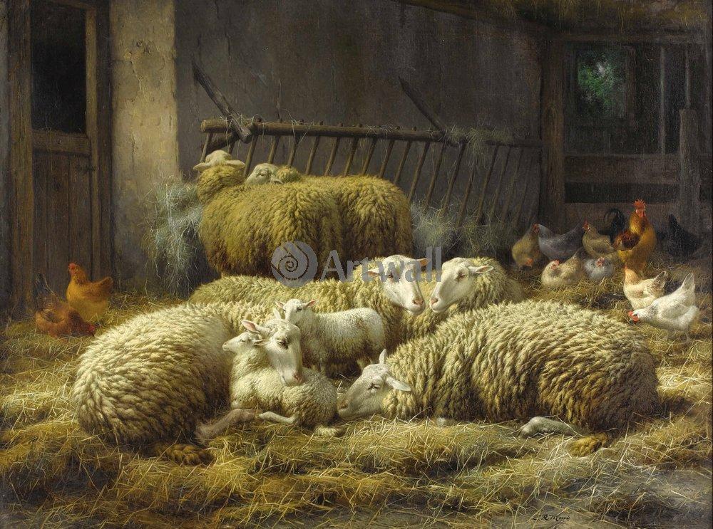 Животные, картина Юджин Маэ «Овцы и куры»Животные<br>Репродукция на холсте или бумаге. Любого нужного вам размера. В раме или без. Подвес в комплекте. Трехслойная надежная упаковка. Доставим в любую точку России. Вам осталось только повесить картину на стену!<br>