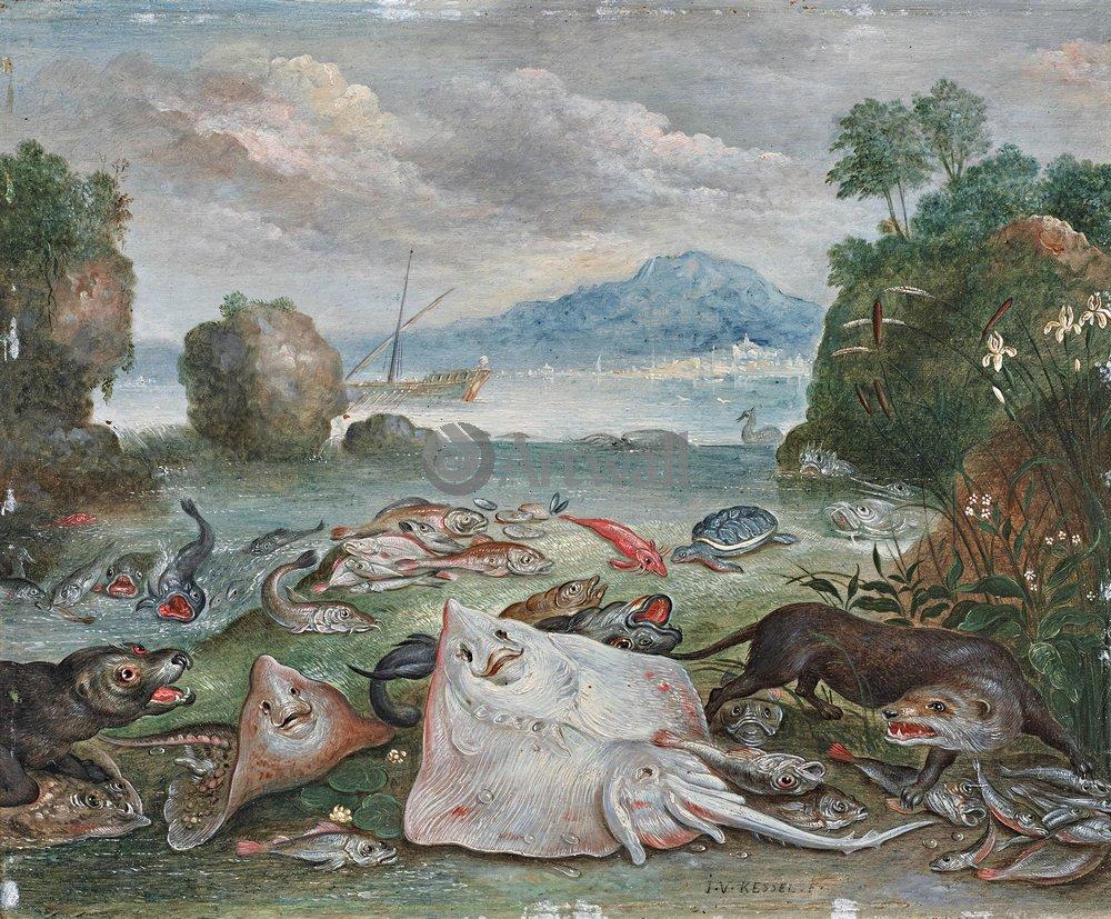 Животные, картина Ян ван Кессель «Рыбы и выдра на пляже»Животные<br>Репродукция на холсте или бумаге. Любого нужного вам размера. В раме или без. Подвес в комплекте. Трехслойная надежная упаковка. Доставим в любую точку России. Вам осталось только повесить картину на стену!<br>