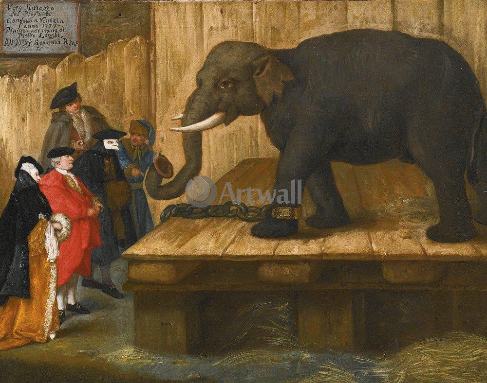 Животные, картина Пьетро Лонги «Слон»Животные<br>Репродукция на холсте или бумаге. Любого нужного вам размера. В раме или без. Подвес в комплекте. Трехслойная надежная упаковка. Доставим в любую точку России. Вам осталось только повесить картину на стену!<br>