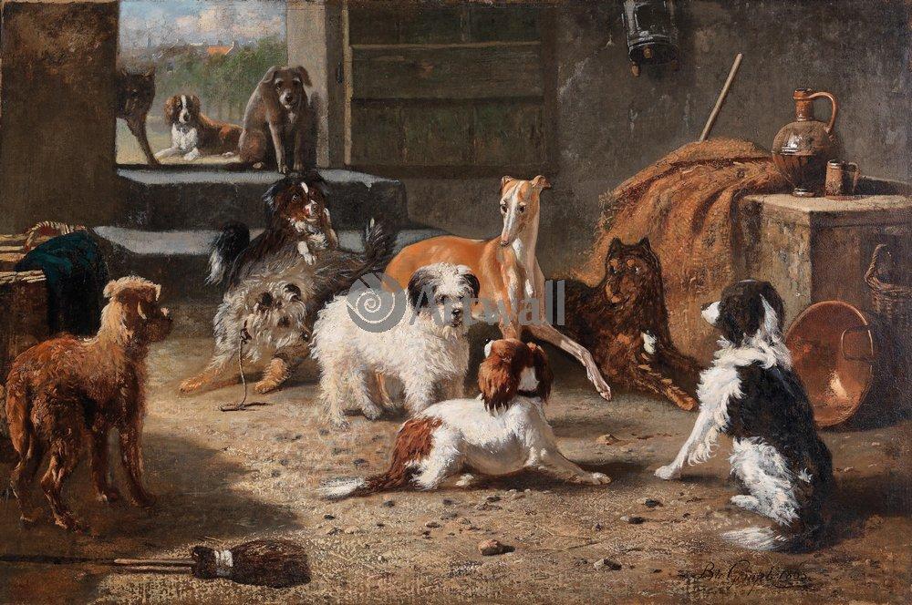 Животные, картина Бернард де Гемпт «Собаки»Животные<br>Репродукция на холсте или бумаге. Любого нужного вам размера. В раме или без. Подвес в комплекте. Трехслойная надежная упаковка. Доставим в любую точку России. Вам осталось только повесить картину на стену!<br>