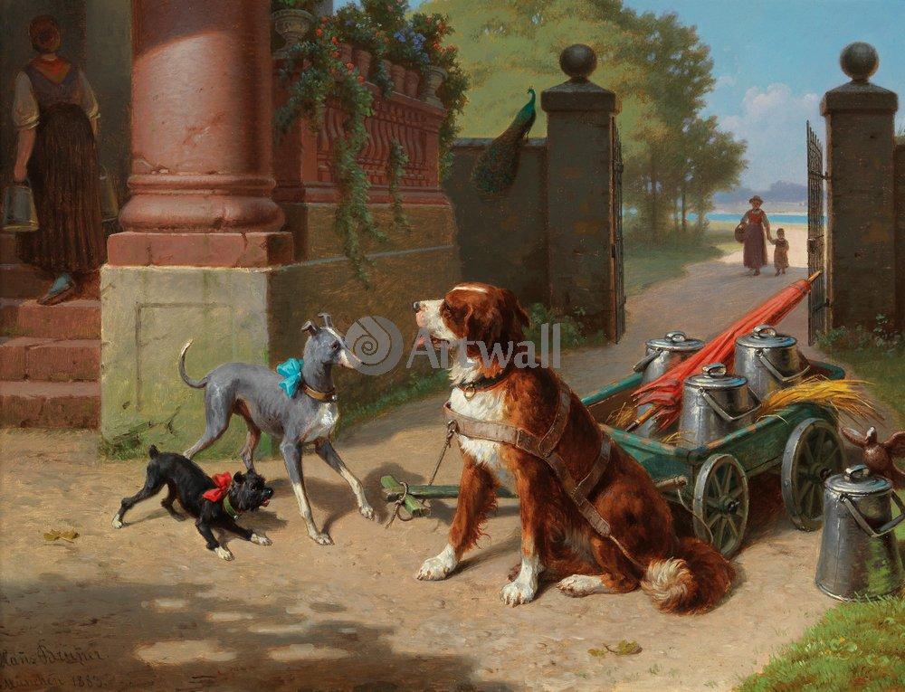 Животные, картина Ганс Бруннер «Собаки»Животные<br>Репродукция на холсте или бумаге. Любого нужного вам размера. В раме или без. Подвес в комплекте. Трехслойная надежная упаковка. Доставим в любую точку России. Вам осталось только повесить картину на стену!<br>