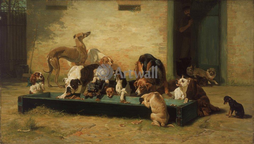 Животные, картина Джон Чарльз Доллман «Собаки»Животные<br>Репродукция на холсте или бумаге. Любого нужного вам размера. В раме или без. Подвес в комплекте. Трехслойная надежная упаковка. Доставим в любую точку России. Вам осталось только повесить картину на стену!<br>