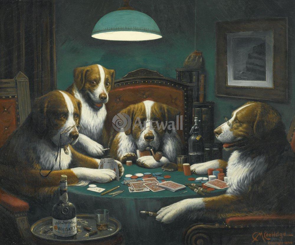 Животные, картина Кассиус Кулидж «Собаки-картежники»Животные<br>Репродукция на холсте или бумаге. Любого нужного вам размера. В раме или без. Подвес в комплекте. Трехслойная надежная упаковка. Доставим в любую точку России. Вам осталось только повесить картину на стену!<br>
