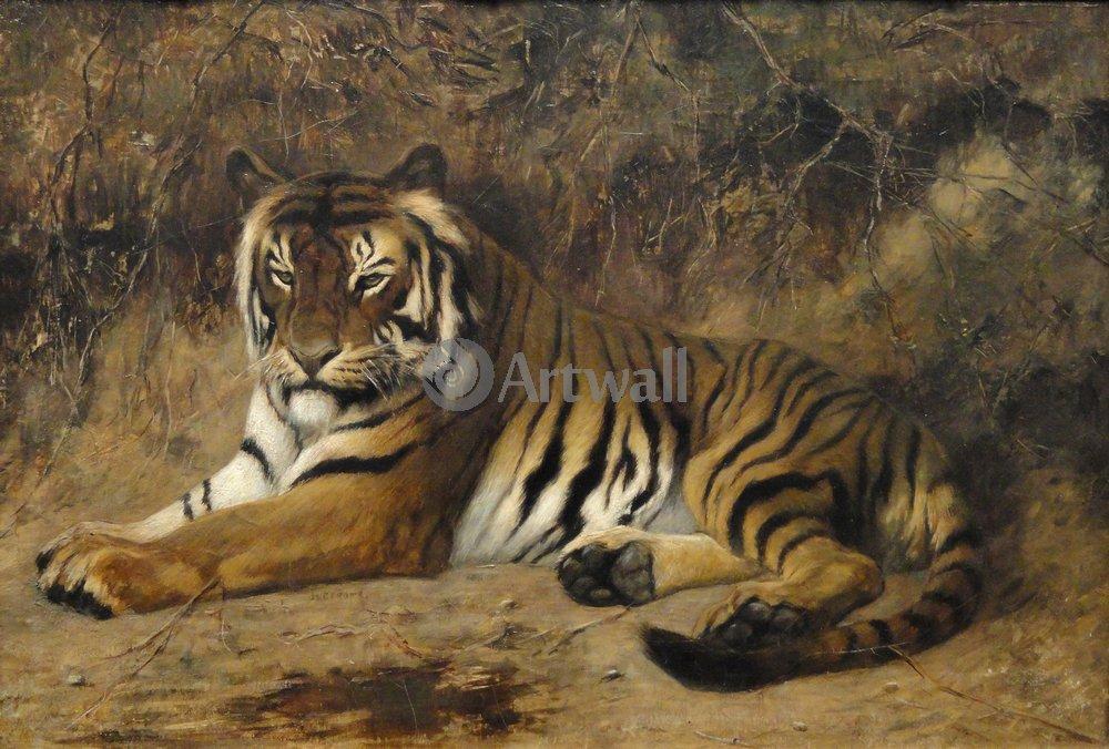 Животные, картина Жан Жером «Тигр»Животные<br>Репродукция на холсте или бумаге. Любого нужного вам размера. В раме или без. Подвес в комплекте. Трехслойная надежная упаковка. Доставим в любую точку России. Вам осталось только повесить картину на стену!<br>