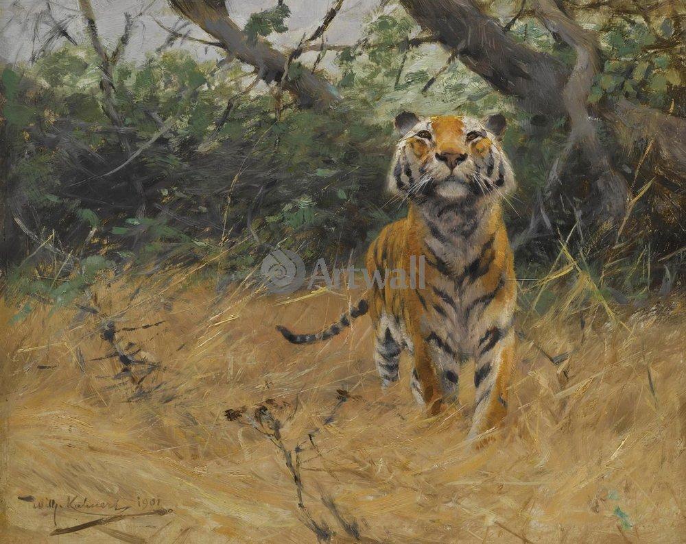 Животные, картина Фридрих Вильгельм Кунерт «Тигр»Животные<br>Репродукция на холсте или бумаге. Любого нужного вам размера. В раме или без. Подвес в комплекте. Трехслойная надежная упаковка. Доставим в любую точку России. Вам осталось только повесить картину на стену!<br>